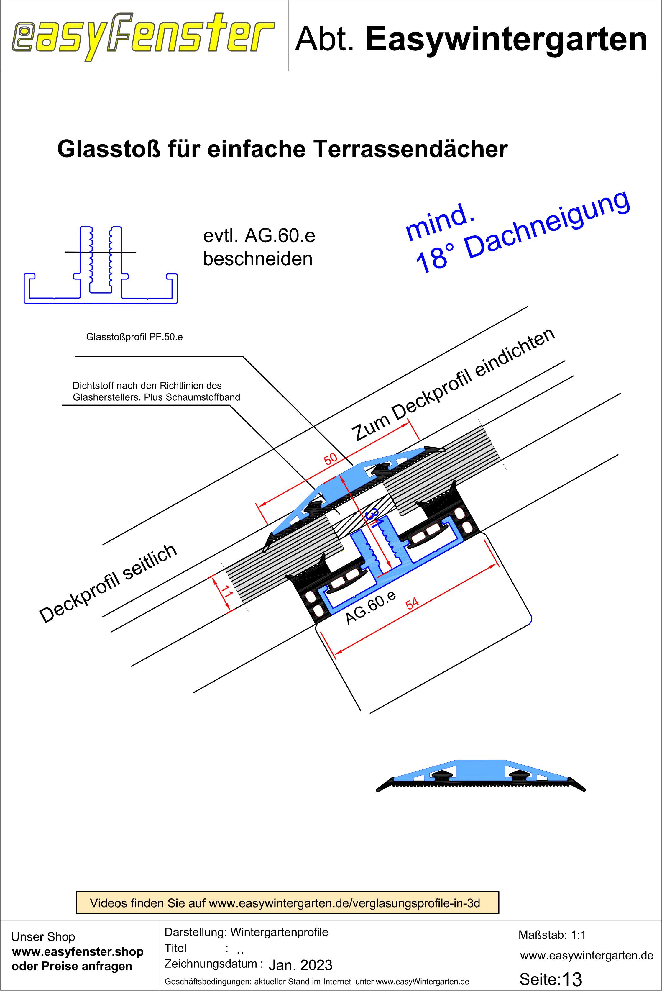 Easy Wintergarten alu glasauflageprofil premium einfache überdachungen glasdächer