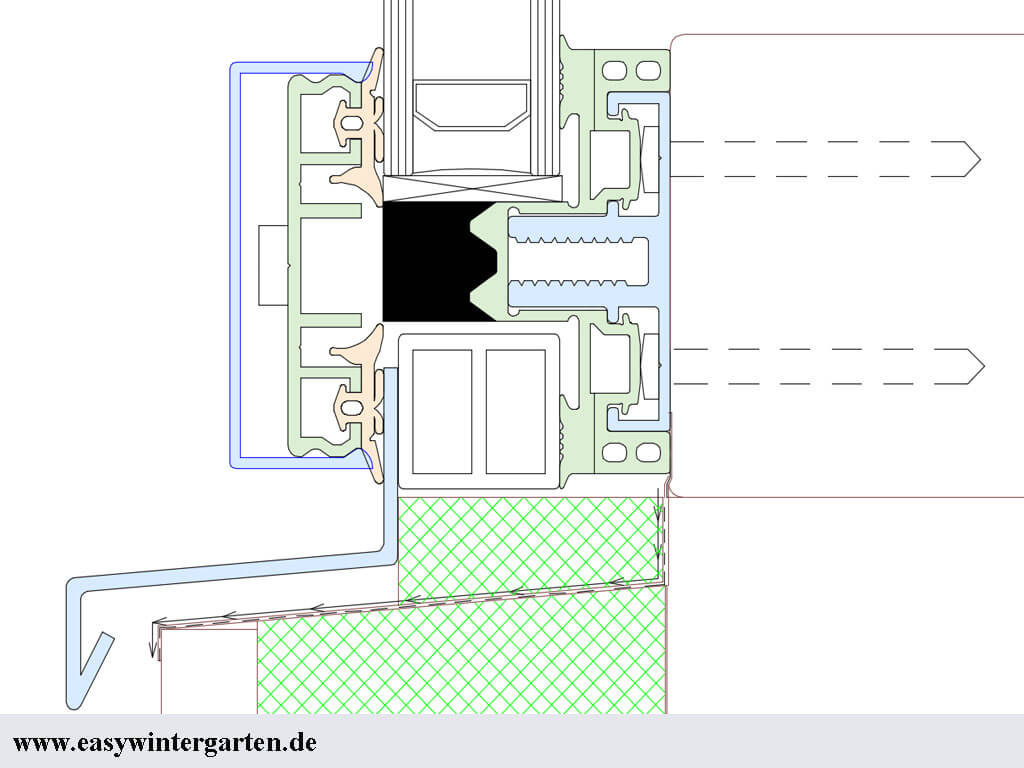 Glasfassade detail bodenanschluss  Wintergarten CAD-Detailsschnitte Pfosten Riegel Profil am Wiga